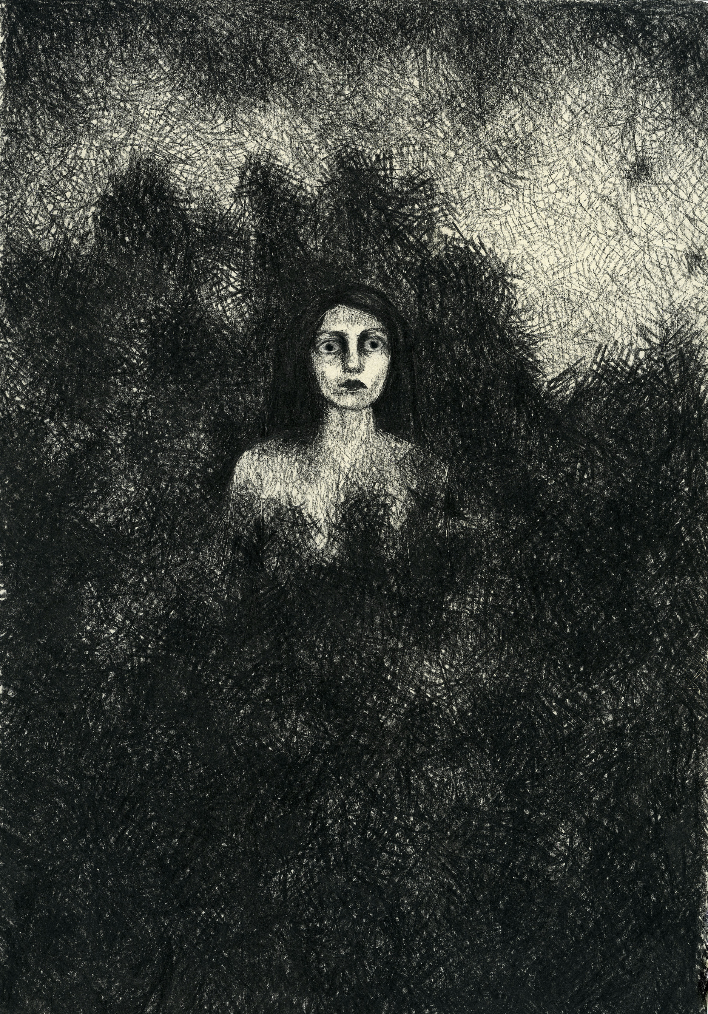 Woman in the garden : pierre noire   30 x 40 cm